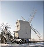TL4138 : Great Chishill Windmill in the snow by Ken Ripper
