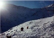 NN3885 : Searching avalanche debris, Coire H-uamha by Iain Lees
