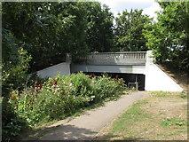 TQ1372 : B358 bridge over River Crane and path by David Hawgood