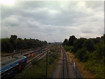 TQ3187 : View of the East Coast Mainline from the footbridge adjacent to Finsbury Park by Robert Lamb
