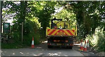 SH3233 : Blocked road beyond Wern Fawr Holiday Complex by Eric Jones