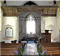 TM1596 : St Nicholas' church in Fundenhall - candle beam and canopy by Evelyn Simak
