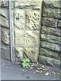 SE1537 : Benchmark on bridge on Shipley Station approach by Roger Templeman