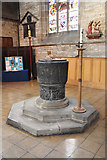 SK3871 : St.Mary & All Saints' font by Richard Croft