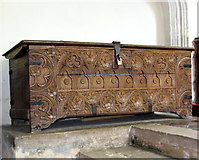 TL7388 : The church of St James in Wilton - the parish chest by Evelyn Simak