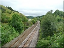 SD9321 : The railway from the Skew Bridge, Walsden by Humphrey Bolton