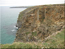SW8468 : Cliffs above Trerathick Cove by Philip Halling