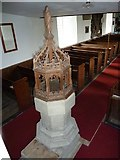 TM4160 : St Mary Magdalene , Friston: font as seen from the stairs to the balcony by Basher Eyre