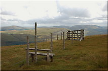 NT1513 : Stile and gate, Carrifran boundary fence by Jim Barton