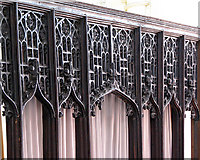 TL8683 : St Peter's church in Thetford - rood screen (detail) by Evelyn Simak