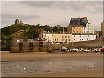 SN1300 : Tenby: the harbour wall end-on by Chris Downer