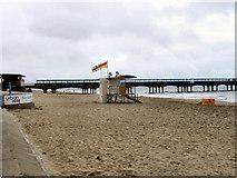 SZ1191 : Boscombe Beach, Lifeguard Hut by David Dixon