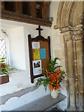 TM3669 : St Peter, Sibton- notice board in the porch by Basher Eyre