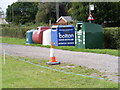 TM1459 : Stonham Aspal Recycling Bins by Adrian Cable