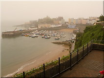 SN1300 : Tenby: the harbour under mist by Chris Downer