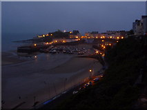 SN1300 : Tenby: night falls on the harbour by Chris Downer