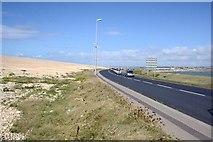 SY6774 : Chesil Beach and the Road by Tony Atkin