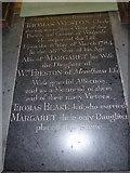 TM3973 : St Andrew's Bramfield:  floor memorial (in English) by Basher Eyre