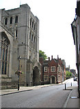TL8564 : Angel Hill past the Norman Tower, Bury St Edmunds by Evelyn Simak