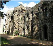 TL8564 : West front of the abbey wall at Bury St Edmunds by Evelyn Simak