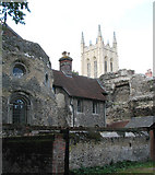 TL8564 : St Edmundsbury cathedral and abbey wall by Evelyn Simak