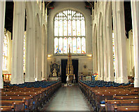 TL8564 : St Edmundsbury cathedral, Bury St Edmunds - view west by Evelyn Simak