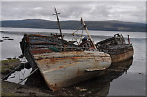 NM5643 : Abandoned, sinking boats at Salen by Nick Mutton