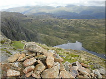 NY2807 : Summit of Harrison Stickle - view towards Stickle Tarn by Peter S