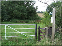 TL9558 : Footpath Sign And Gate by Keith Evans