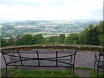 SO5212 : Benches on Kymin Hill, Monmouth by Jeremy Bolwell
