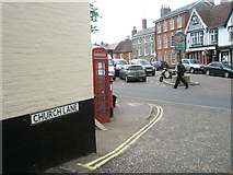TM2863 : Phone box at the junction of Church Lane and Market Hill by Basher Eyre