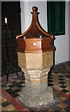 TG2608 : St Andrew's church in Thorpe St Andrew - C13 font by Evelyn Simak