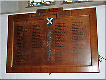 TG2608 : St Andrew's church in Thorpe St Andrew - war memorial by Evelyn Simak