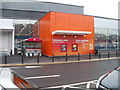 ST3189 : Bright orange cashpoints, Sainsbury's, Crindau by Jaggery