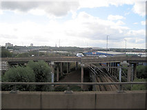 SP0990 : Crossing the railway at Spaghetti junction by John Firth