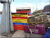 NT6779 : Fishbox Of The Week : Purple Galway and Aran Fishermens Co-op Ltd at Victoria Harbour, Dunbar by Richard West