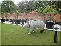 SJ4368 : Rhino Mania - #56 Cheshire Set rhino at Doubletree by Hilton by John S Turner
