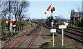 J4187 : Somersault signals, Carrickfergus station by Albert Bridge