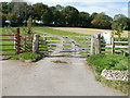 SO3802 : Usk Castle Chase Meadow gate by Jaggery