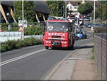 TL4658 : Fire appliance approaching Coldham's Lane railway bridge by Michael Trolove