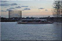 TQ3979 : Gas Holder - Speed Ferry and a Sculpture by Ashley Dace