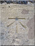 SU7682 : Bench mark on St Mary the Virgin by Bill Nicholls