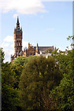 NS5766 : University of Glasgow Building as seen from Kelvingrove Park. by Peter Allen
