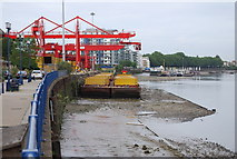 TQ2575 : Barges at Wandsworth Waste transfer Station by N Chadwick
