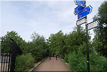 TQ2575 : Thames Path in Wandsworth - crossing the Bell Lane Creek by N Chadwick