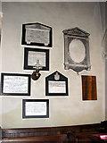 TF6415 : All Saints' church in North Runcton - memorials in chancel by Evelyn Simak