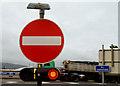 "J3475 : ""No entry"" sign, Belfast by Albert Bridge"