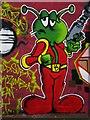 TQ3076 : Little green man, Aytoun Road SW9 by Robin Sones