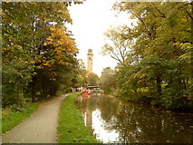 SE1338 : Towards Salts Mill on the Leeds Liverpool Canal by Andrew Abbott