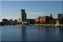 SJ8097 : Salford Quays: looking down the old dock to the Ship Canal by Christopher Hilton